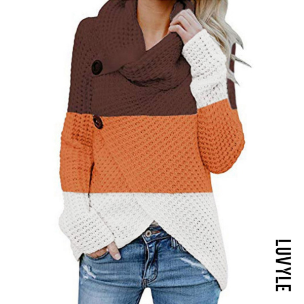 High Collar Long Sleeve Colouring Sweater
