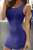 Round Neck  Backless  Plain  Sleeveless Bodycon Dresses