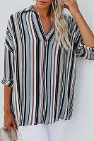 Polo Collar  Loose Fitting  Striped  Blouses