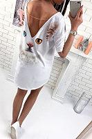 Round Neck  Asymmetric Hem Backless  Printed  Half Sleeve Casual Dresses