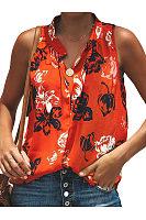 Band Collar Floral Printed Shirts