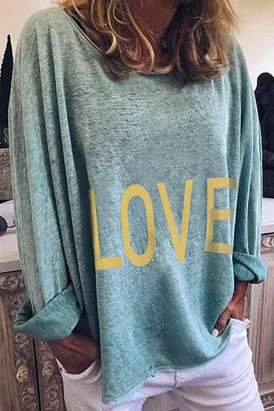 Casual Letter Printed Colour Long Sleeve Loose T-Shirt