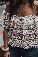 Shoulder Collar Lace Casual Blouses