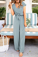 Lace-Up V-Neck Loose Casual Short-Sleeve Jumpsuit