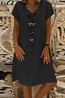 Elegant V Neck Short Sleeve Plain Casual Dress