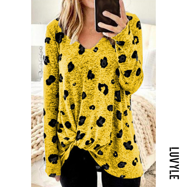 Yellow V Neck Leopard Casual T-Shirt Yellow V Neck Leopard Casual T-Shirt