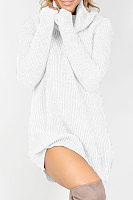 Knit High Neck  Plain Casual Dresses