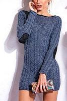 Scoop Neck  Patchwork Sweaters