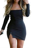 Off Shoulder  Zipper Bodycon Dresses