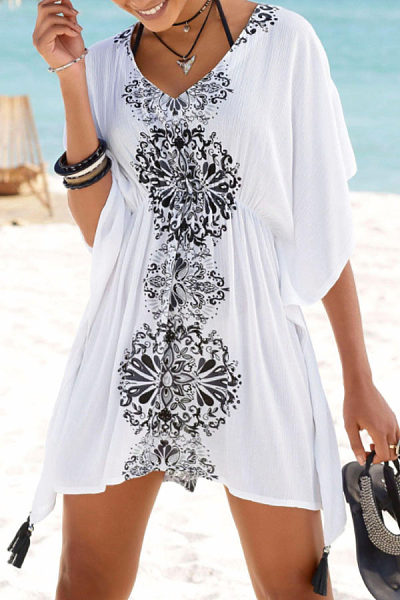 V Neck  Asymmetric Hem  Printed  Short Sleeve Casual Dresses