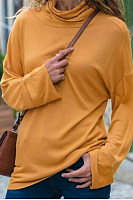 Fashion Short High Collar Long Sleeve Pure Colour T-Shirt