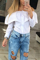 Off Shoulder  Flounce Single Breasted  Blouses