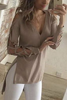 V Neck  Asymmetric Hem Side Slit  Hollow Out Plain T-Shirts