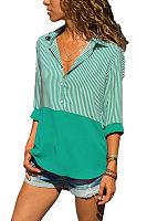 Turn Down Collar  Asymmetric Hem  Patchwork Striped  Blouses