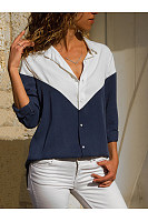Turn Down Collar  Single Breasted  Patchwork  Blouses