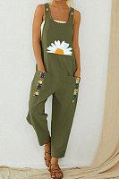 Vintage Daisy Floral Print Patchwork Jumpsuit