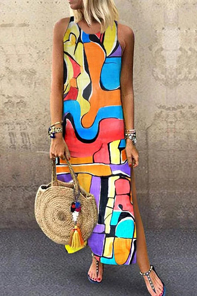 Round Neck Sleeveless Print Dress