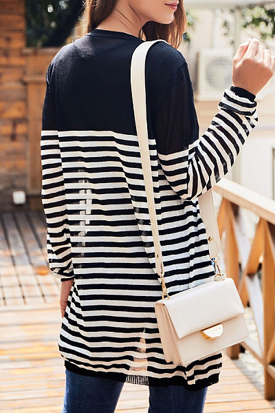 Women Casual Striped  Cardigans