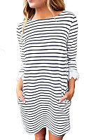 Round Neck  Patchwork  Striped  Three Quarter Sleeve Casual Dresses