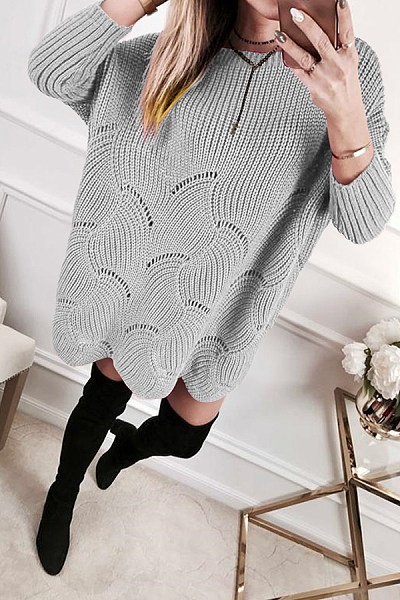 Casual  Jacquard Long Sleeve Sweaters