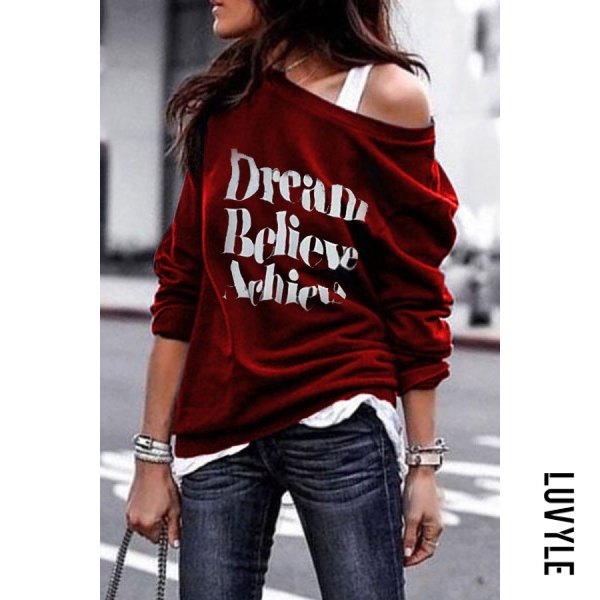 Claret Red Round Shoulder Letters T-Shirts(Camisole is excluded) Claret Red Round Shoulder Letters T-Shirts(Camisole is excluded)