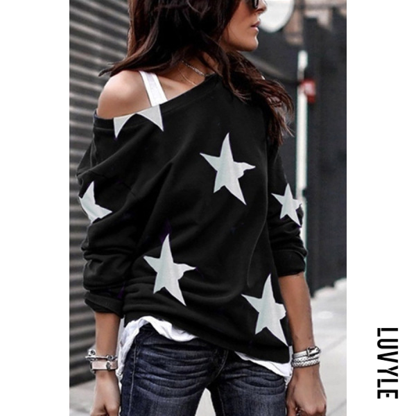 Black Open Shoulder Stars Printed T-Shirts Black Open Shoulder Stars Printed T-Shirts