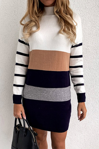 Round Neck Striped Casual Dress
