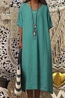 Fashion round neck short sleeve solid color midi dress
