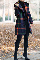 Hooded  Checkered  Basic Outerwear