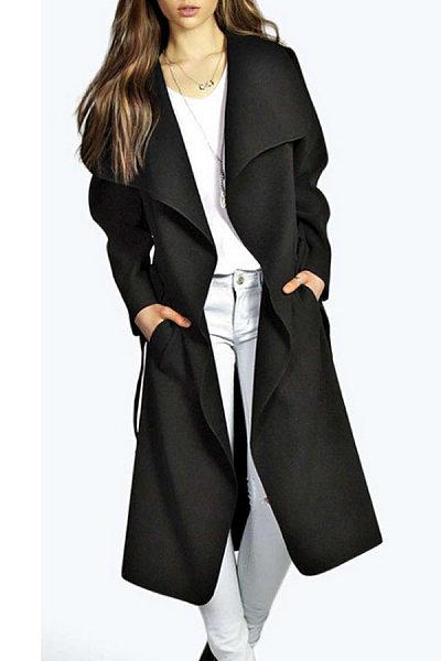 Lapel  Snap Front  Belt  Plain Outerwear