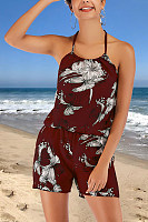 Halter  Backless Elastic Waist  Print  Playsuits