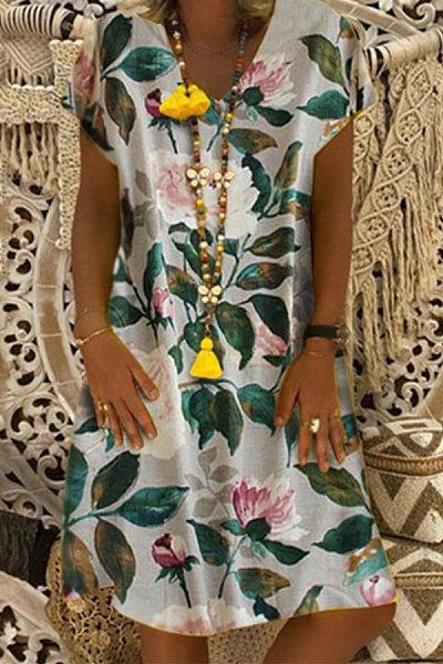 V Neck Short Sleeve Floral Casual Dress