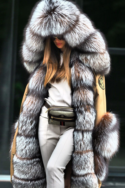 Noble Luxury Fashion Stitching Faux Fur Plus Long Overcoat
