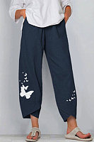 Butterfly Print Elasticated Waist Wide Leg Pants