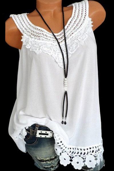 Round Neck Plain Lace Sleeveless T-Shirt