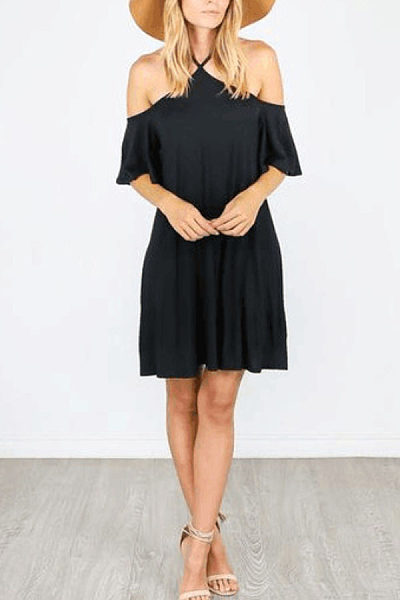 Halter  Plain  Short Sleeve Casual Dresses