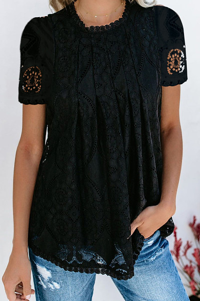 Round Neck  Lace  Blouses