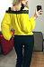 Open Shoulder Spaghetti Strap  Patchwork  Lantern Sleeve T-Shirts