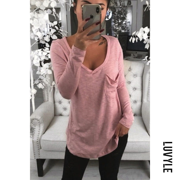 Pink V Neck Plain T-Shirts Pink V Neck Plain T-Shirts