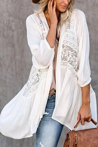 Fashion lace stitching chiffon irregular cardigan