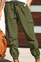 Women's elastic waist multi-pocket loose beam casual trousers