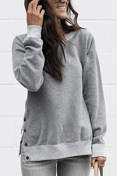 Fashion Round Neck Button Long Sleeves Sweatshirt