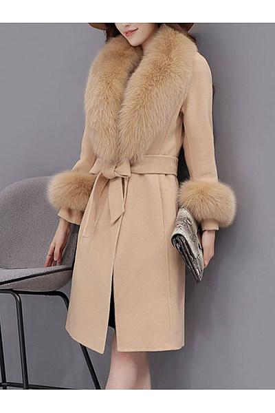 Faux Fur Collar Belt Plain Woolen Wrap Coat