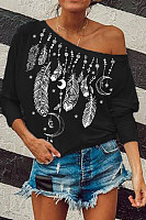 Casual Printed Feather Long Sleeve Round Neck T-Shirt