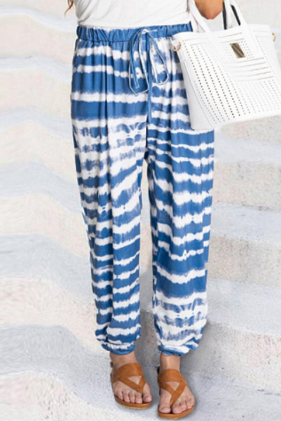 Fashion - Stripe tie-dye print fading casual pants for women