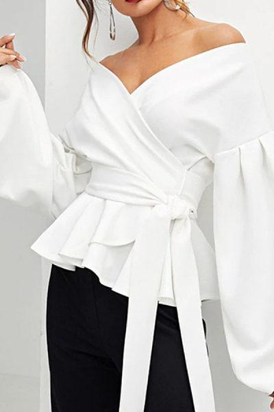 Off Shoulder  Plain  Lantern Sleeve  Blouses