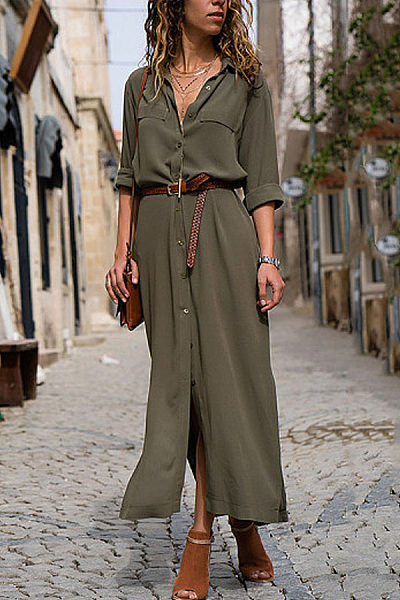 Fashionable Loose Long Sleeved Maxi Dress