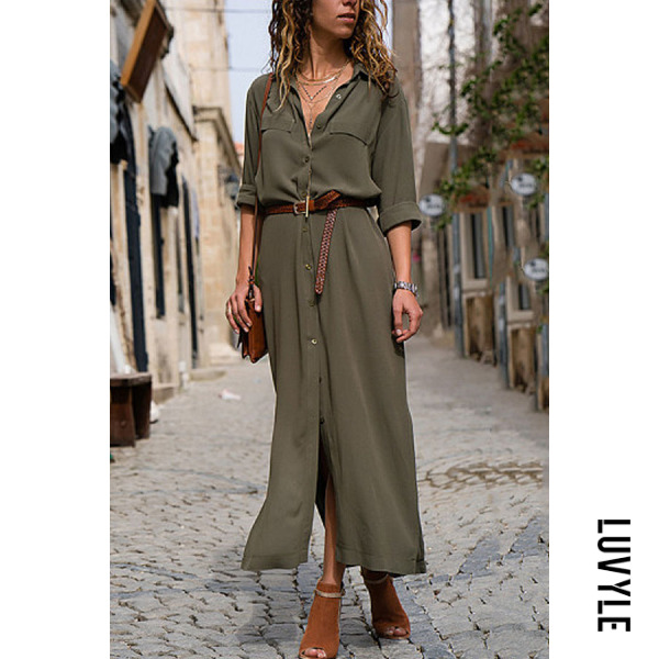 Army Green Fashionable Loose Long Sleeved Maxi Dress Army Green Fashionable Loose Long Sleeved Maxi Dress
