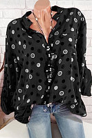 V Neck Long Sleeve Polka Dot Blouse
