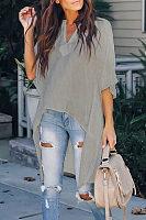 Fashion Casual Pure   Color Loose T-Shirts